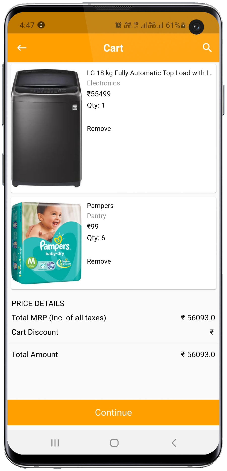 ecommerce app item and cart screen